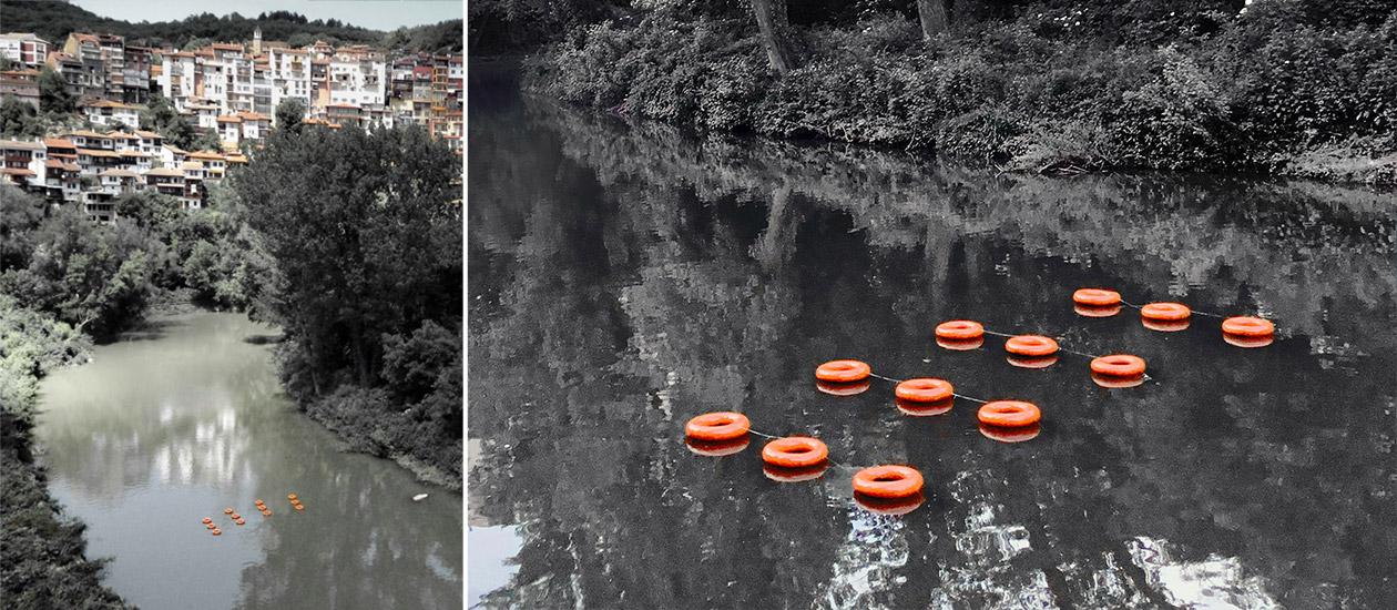 Оранжеви пояси арт инсталация