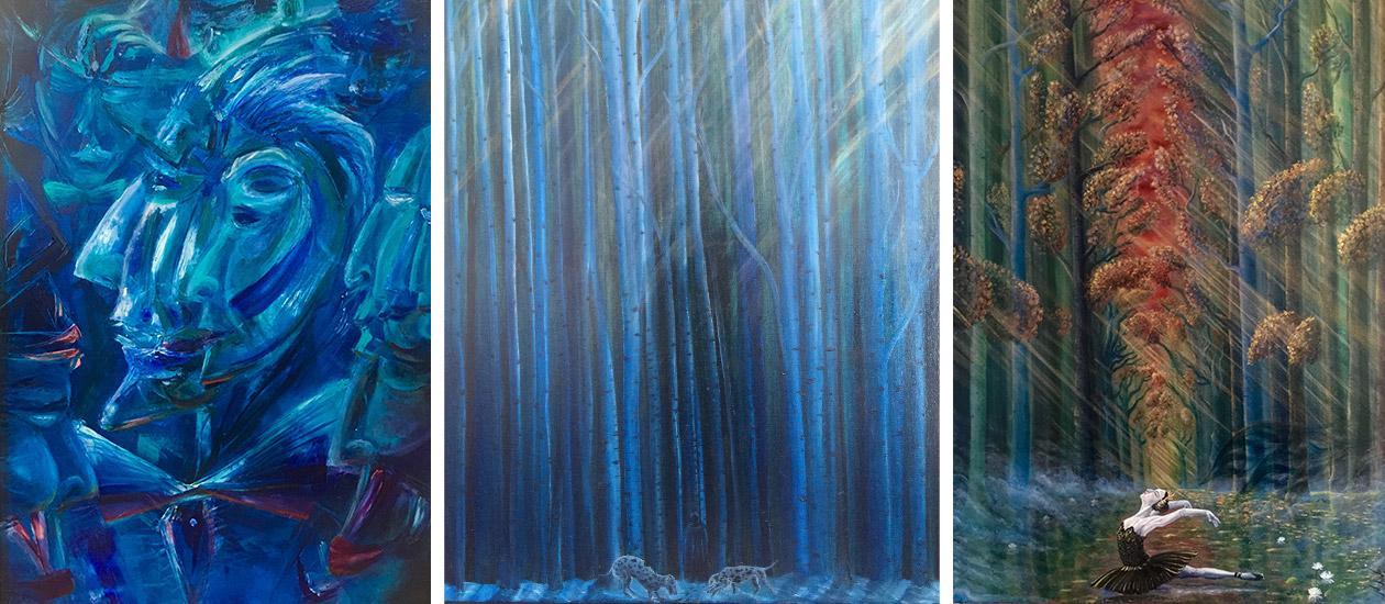 Сини картини на Михов