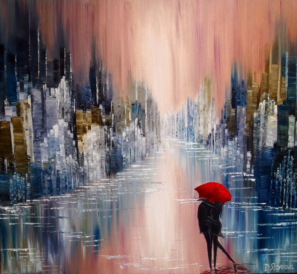 влюбена двойка в дъжда