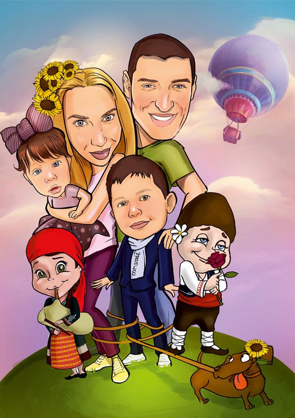 Карикатура семейство